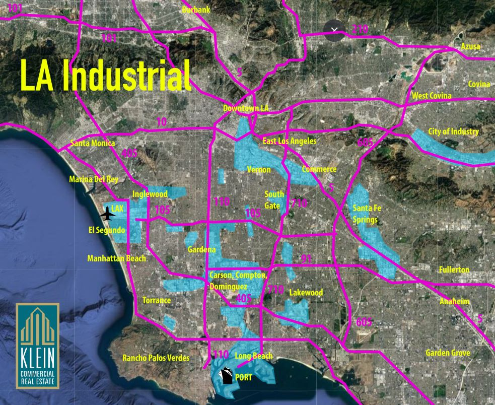 Map of Los Angeles Industrial Real Estate Areas